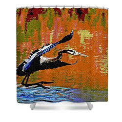 The Great Blue Heron Jumps To Flight Shower Curtain by Tom Janca