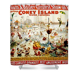 The Great Coney Island Water Carnival Shower Curtain by Georgia Fowler