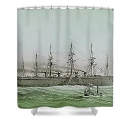 The Great Eastern Laying Electrical Cable Between Europe And America Shower Curtain by Louis Le Breton