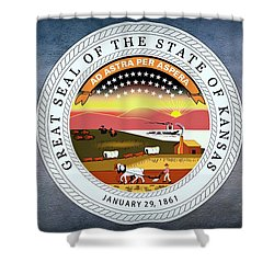 The Great Seal Of The State Of Kansas  Shower Curtain by Movie Poster Prints