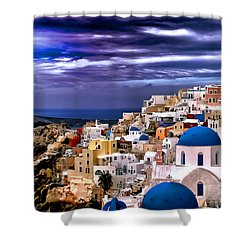 The Greek Isles Santorini Shower Curtain by Tom Prendergast