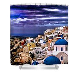 The Greek Isles Santorini Shower Curtain