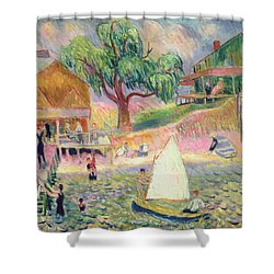 The Green Beach Cottage Shower Curtain by William James Glackens