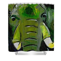 The Green Elephant In The Room Shower Curtain