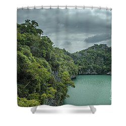 The Green Laguna Shower Curtain by Michelle Meenawong