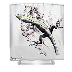 The Green Lizard Shower Curtain by Katharina Filus