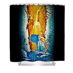 Shower Curtain featuring the digital art The Guardian Angel by Absinthe Art By Michelle LeAnn Scott