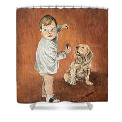 Shower Curtain featuring the painting The Guilty Ones by Mary Ellen Anderson