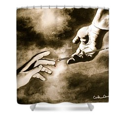 The Hand Of God Shower Curtain by Carla Carson