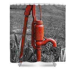 The Hand Pump Shower Curtain by Barbara McMahon