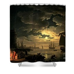 The Harbor Of Palermo Shower Curtain by Claude Joseph Vernet