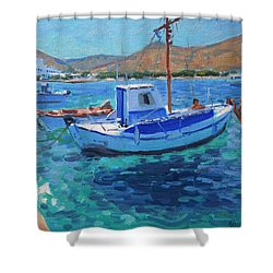The Harbor  Tinos Shower Curtain by Andrew Macara