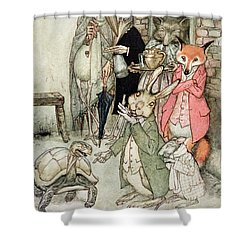 The Hare And The Tortoise, Illustration From Aesops Fables, Published By Heinemann, 1912 Colour Shower Curtain