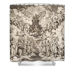 The Harmony Of The Spheres Shower Curtain by Agostino Carracci
