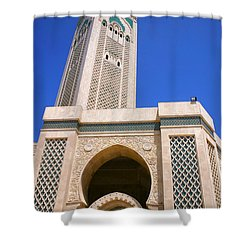 The Hassan II Mosque Grand Mosque With The Worlds Tallest 210m Minaret Sour Jdid Casablanca Morocco Shower Curtain
