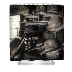 The Hatters Shop - 19th Century Hatter Shower Curtain by Gary Heller