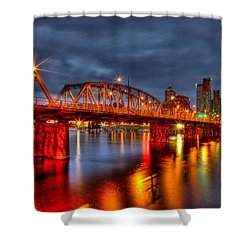 Shower Curtain featuring the photograph The Hawthorne Bridge - Pdx by Thom Zehrfeld