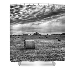 The Hay Bails Shower Curtain by Howard Salmon