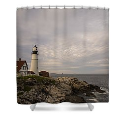 The Head Light Shower Curtain by Karol Livote