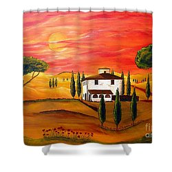 The Heat Of Tuscany Shower Curtain by Christine Huwer