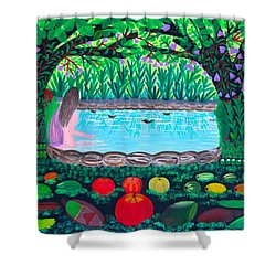 Shower Curtain featuring the painting The Hidden Water by Lorna Maza