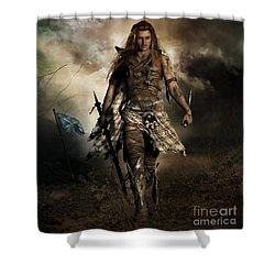 The Highlander Shower Curtain by Shanina Conway