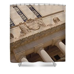 Shower Curtain featuring the photograph The Historical Federal Reserve Bank Of Dallas by Robert ONeil