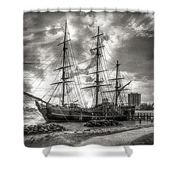 The Hms Bounty In Black And White Shower Curtain by Debra and Dave Vanderlaan