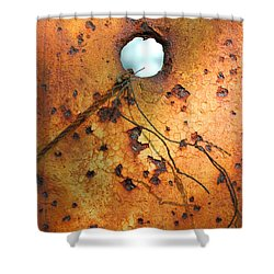 Shower Curtain featuring the photograph The Holey Post by Mary Bedy