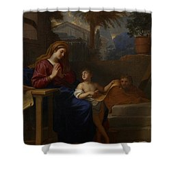The Holy Family In Egypt Shower Curtain by Charles Le Brun