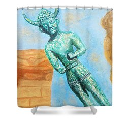The Horned God From Egkomi .  Shower Curtain by Augusta Stylianou