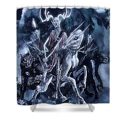 Shower Curtain featuring the painting The Horned King 2 by Curtiss Shaffer