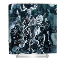 The Horned King Shower Curtain by Curtiss Shaffer