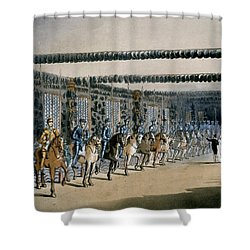 The Horse Armour Tower, Print Made Shower Curtain by T. & Pugin, A.C. Rowlandson