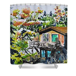 The House Hiding In The Bushes Shower Curtain