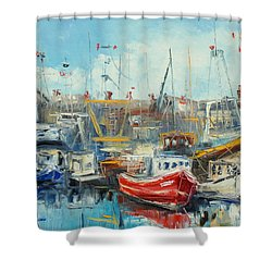 The Howth Harbour Shower Curtain