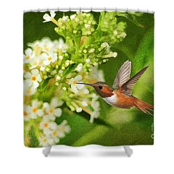 The Hummer And The Butterfly Bush Shower Curtain by Darren Fisher