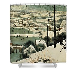 The Hunters In The Snow Shower Curtain by Jan the Elder Brueghel