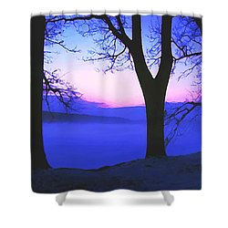 Shower Curtain featuring the painting The Hush At First Light by Sophia Schmierer