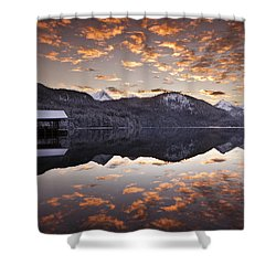 The Hut By The Lake Shower Curtain by Jorge Maia