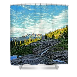Shower Curtain featuring the photograph The Hut. by Eti Reid