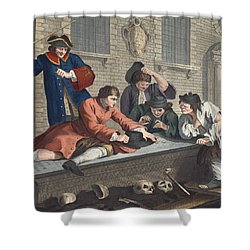 The Idle Prentice At Play In The Church Shower Curtain by William Hogarth