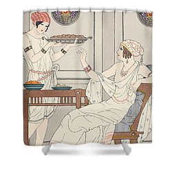 The Immoderate Consumption Of Sesame Cakes And Sweets With Honey Shower Curtain by Joseph Kuhn-Regnier