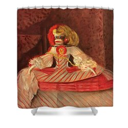 Shower Curtain featuring the painting The Infant Margarita by Randol Burns