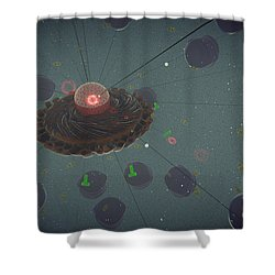 The Interior Of An Eukaryotic Cell Shower Curtain by Stocktrek Images