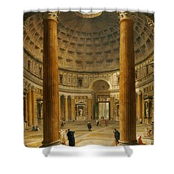 The Interior Of The Pantheon Shower Curtain by Giovanni Paolo Panini