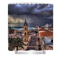 the Jaffa old clock tower Shower Curtain by Ronsho