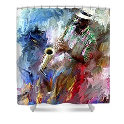 The Jazz Player Shower Curtain