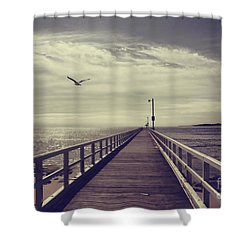 The Jetty Shower Curtain by Linda Lees