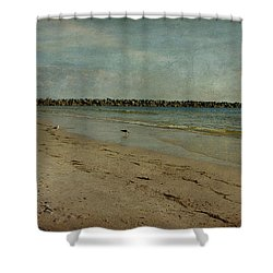 The Jetty Shower Curtain by Sandy Keeton